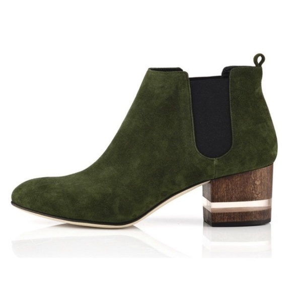 ae7f369ef985a Dear Frances Shoes - Dear Frances | Green Suede 'Float' Booties